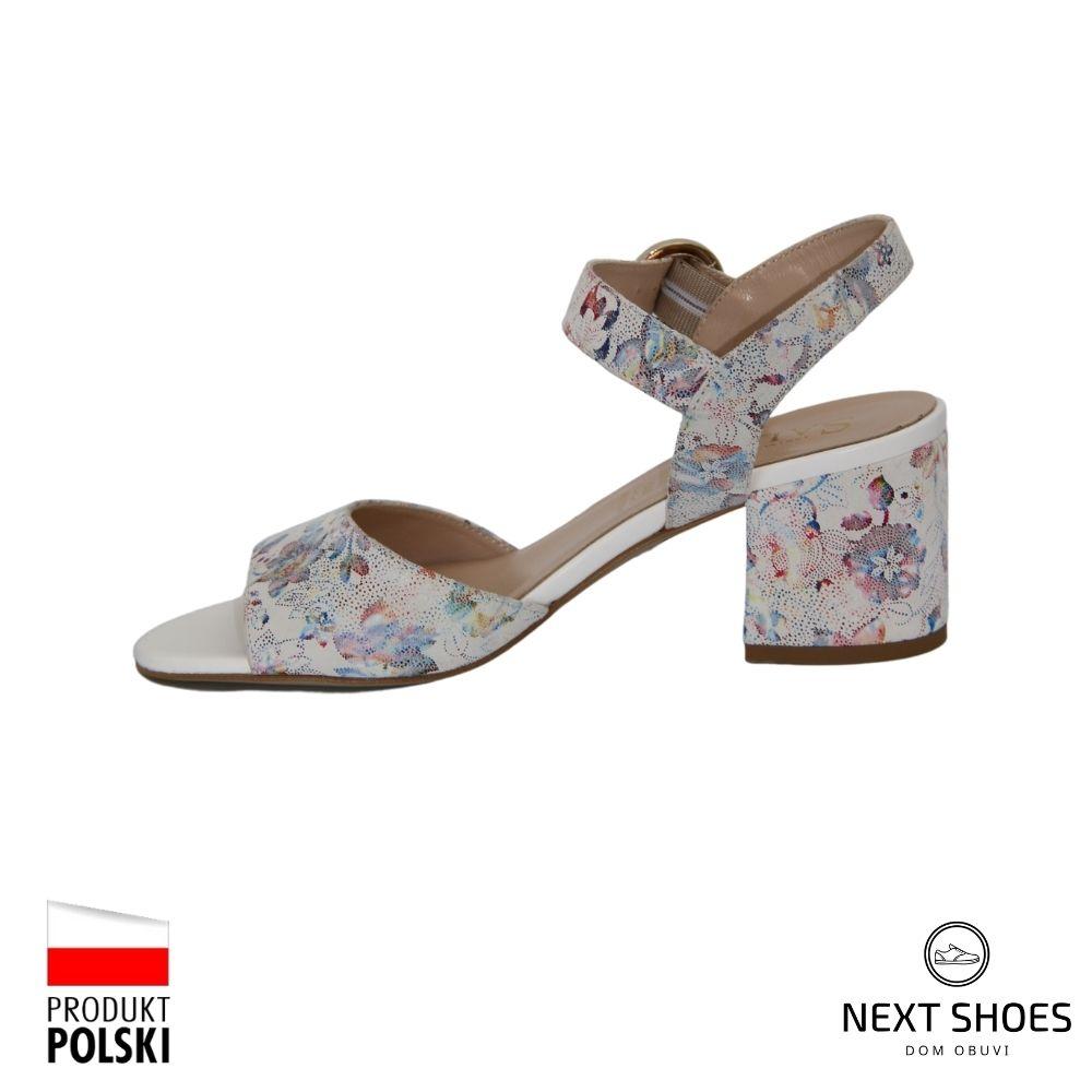 Босоножки на среднем каблуке женские разноцветные NEXT SHOES (Польша) летние арт 7097-1292 модель 4153