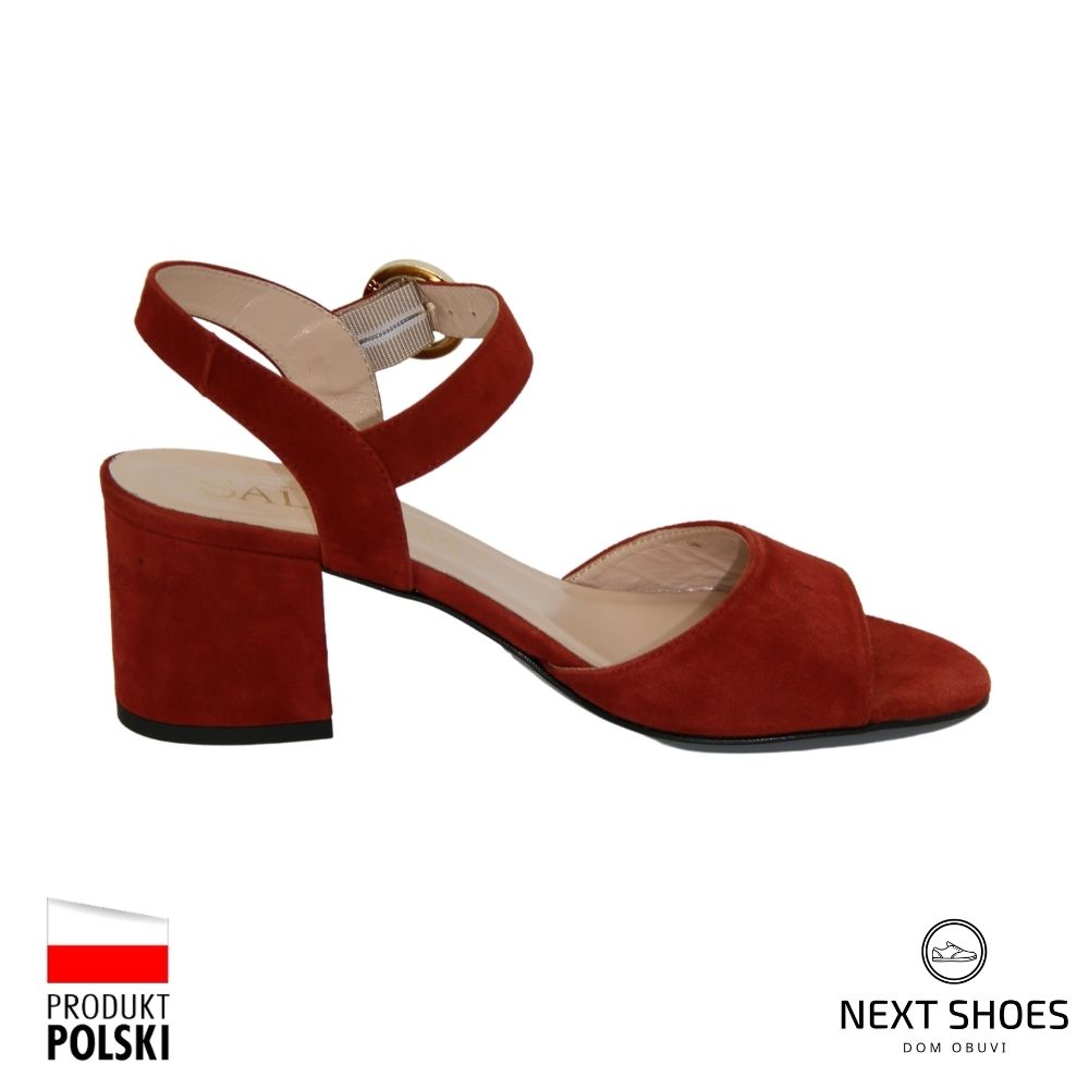 Sandals with medium heels female red NEXT SHOES (Poland) summer art 7097-806 model 4155