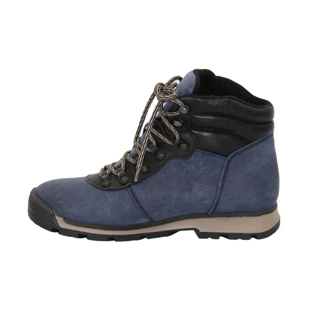 Женские синие ботинки спорт на шнуровке зимние NEXT SHOES (Польша) Натуральный нубук, арт 211-6501-8-3296-hiebieski модель 4177