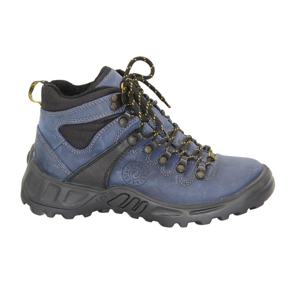 Женские синие ботинки спорт на шнуровке зимние NEXT SHOES (Польша) Натуральная кожа, арт 053-6157-8-3296 модель 4181