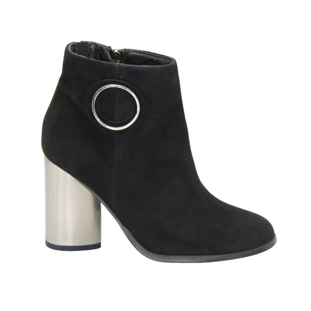 Женские черные ботинки на среднем каблуке со змейкой демисезонные NEXT SHOES (Польша) Натуральный нубук, арт 48007-13-c78-000-czarny модель 4192
