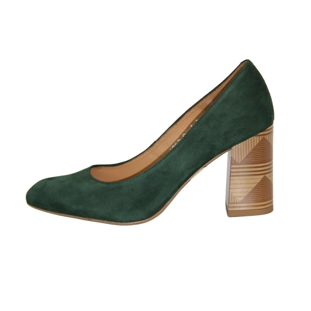 Женские зеленые туфли-лодочки на среднем каблуке демисезонные NEXT SHOES (Польша) Натуральная кожа, арт 8671-13w модель 4210