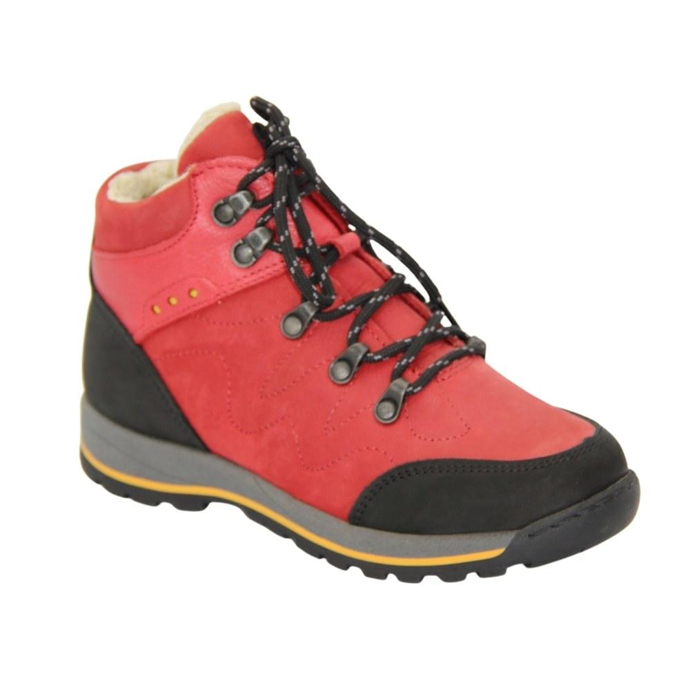 Женские красные ботинки спорт на шнуровке зимние NEXT SHOES (Польша) Натуральная кожа, арт 053-campari-czerwony модель 4219