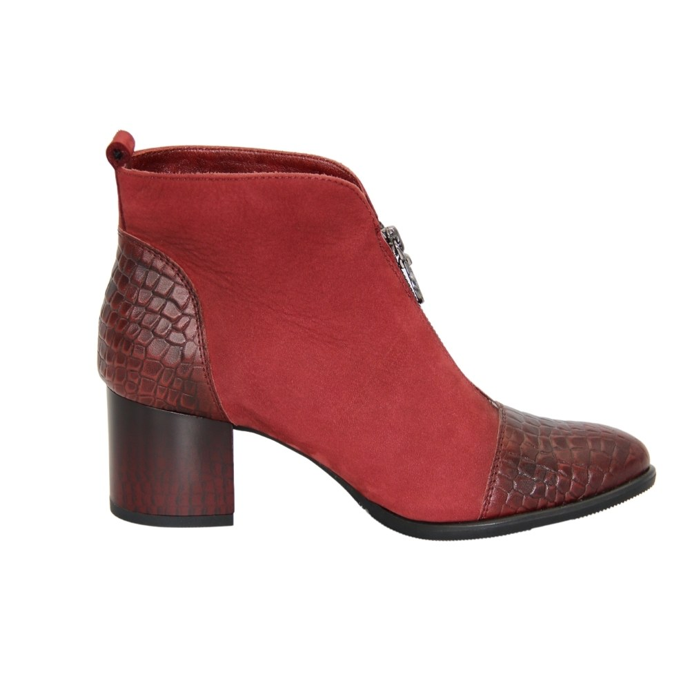 Женские красные ботинки на среднем каблуке демисезонные NEXT SHOES (Польша) Натуральный нубук, арт 1758-bor-035t-bgoll модель 4248