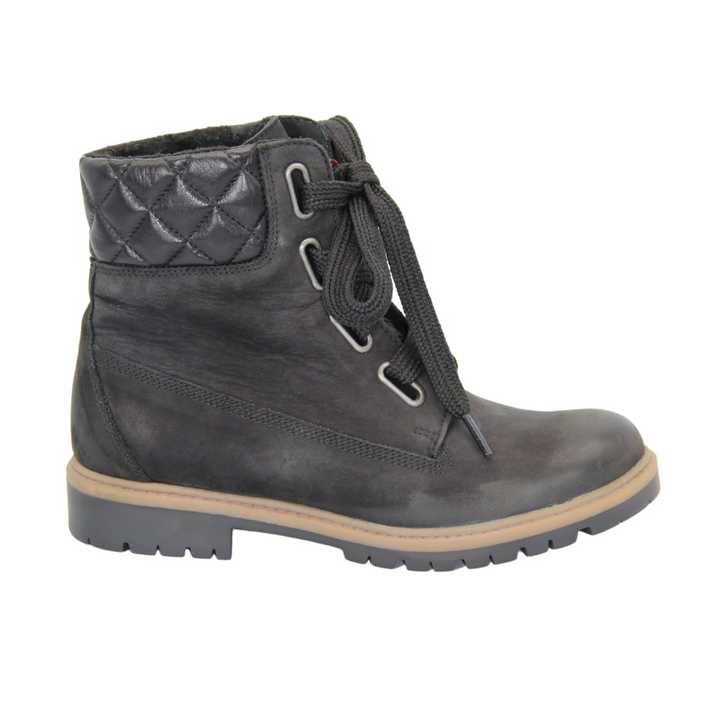 Women's black boots at low speed with lacing and a snake demi-season NEXT SHOES (Poland) Natural nubuck, art 868521 model 4303