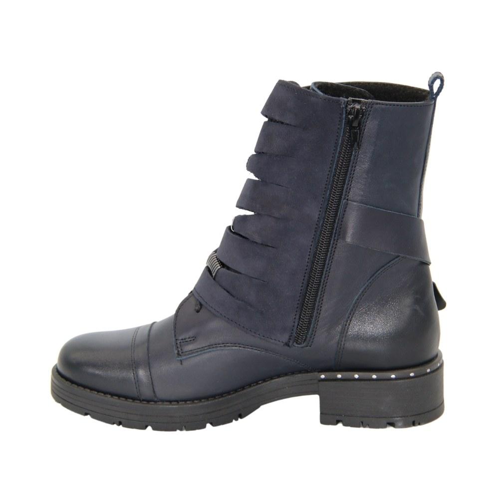 Женские синие ботинки на низком ходу со змейкой демисезонные NEXT SHOES (Польша) Натуральная кожа, арт z209-1811-sd-nub модель 4312