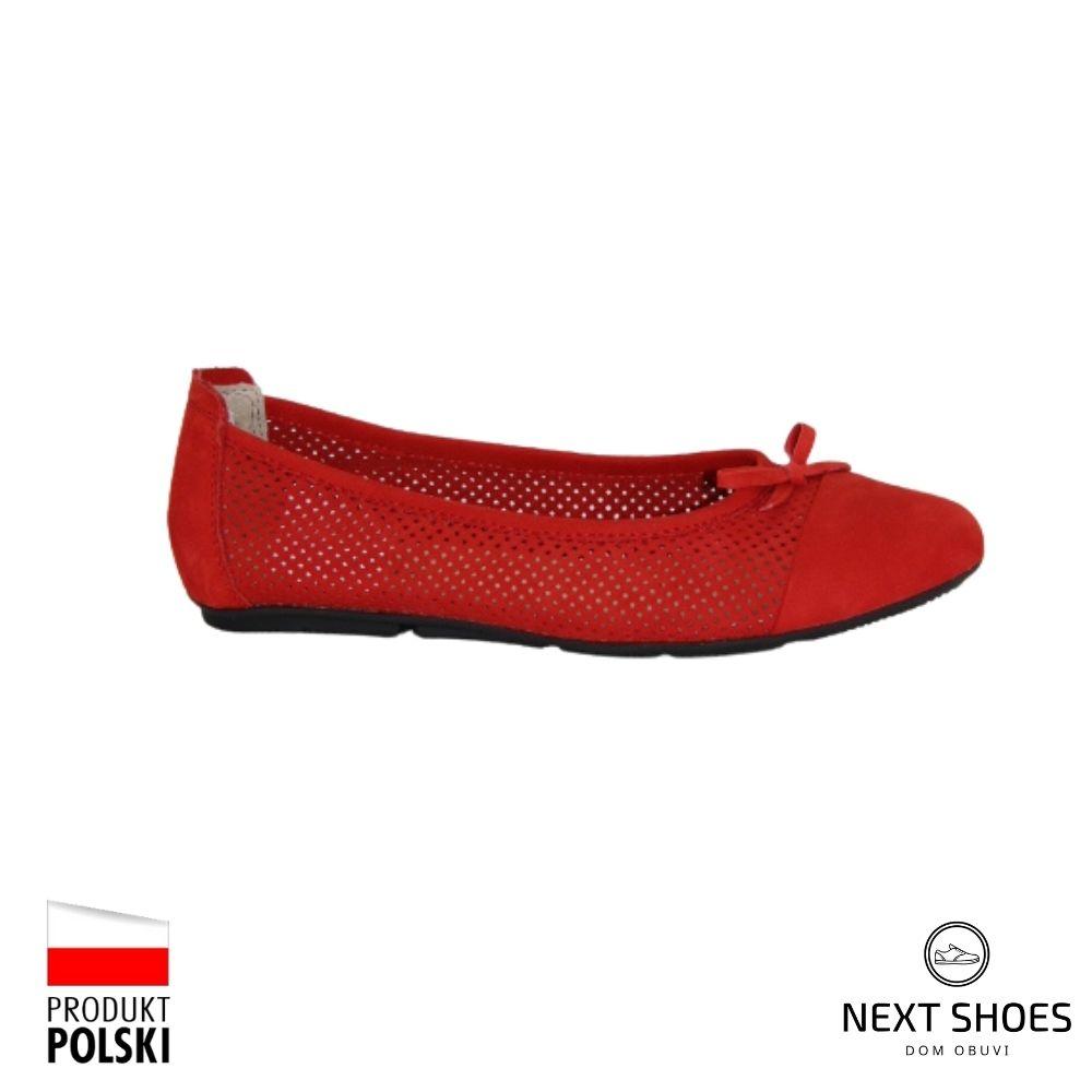 Балетки женские красные NEXT SHOES (Польша) летние арт 221-4255-1-50a150 модель 4340