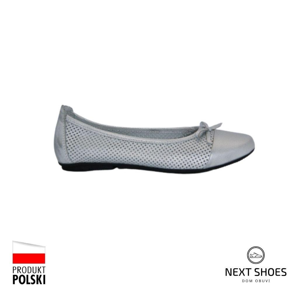 Women's silver ballet flats NEXT SHOES (Poland) summer art 221-4255-185b model 4349