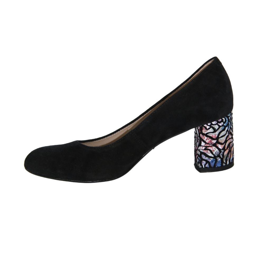 Женские черные туфли-лодочки на среднем каблуке демисезонные NEXT SHOES (Польша) Натуральная кожа, арт 0253-01w-01kw модель 4355