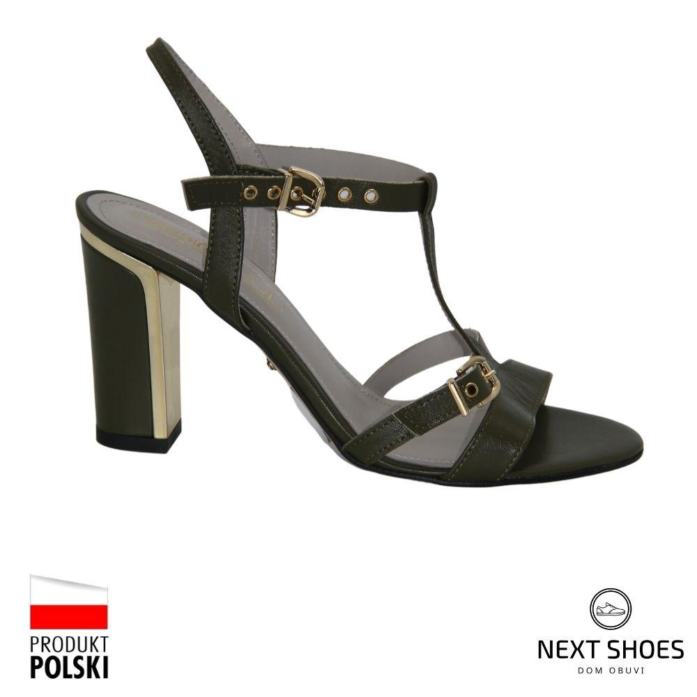 Босоножки на среднем каблуке женские зеленые NEXT SHOES (Польша) летние арт 1y1-8n-5651 модель 4361