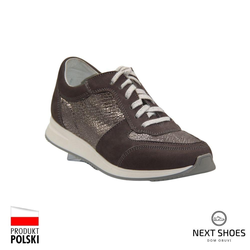 Кроссовки женские серые NEXT SHOES (Польша) демисезонные арт 465-szary-wyt модель 4372