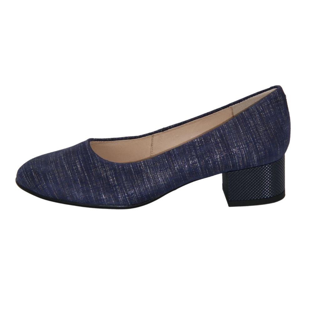 Женские синие туфли-лодочки на среднем каблуке демисезонные NEXT SHOES (Польша) Натуральная замша, арт  модель 4376