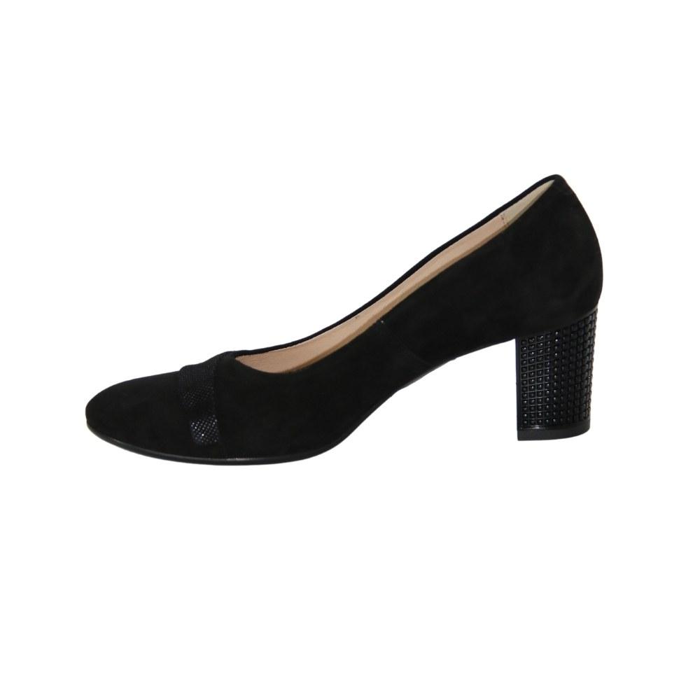Женские черные туфли-лодочки на среднем каблуке демисезонные NEXT SHOES (Польша) Натуральная замша, арт 1031p-041-381-1 модель 4379