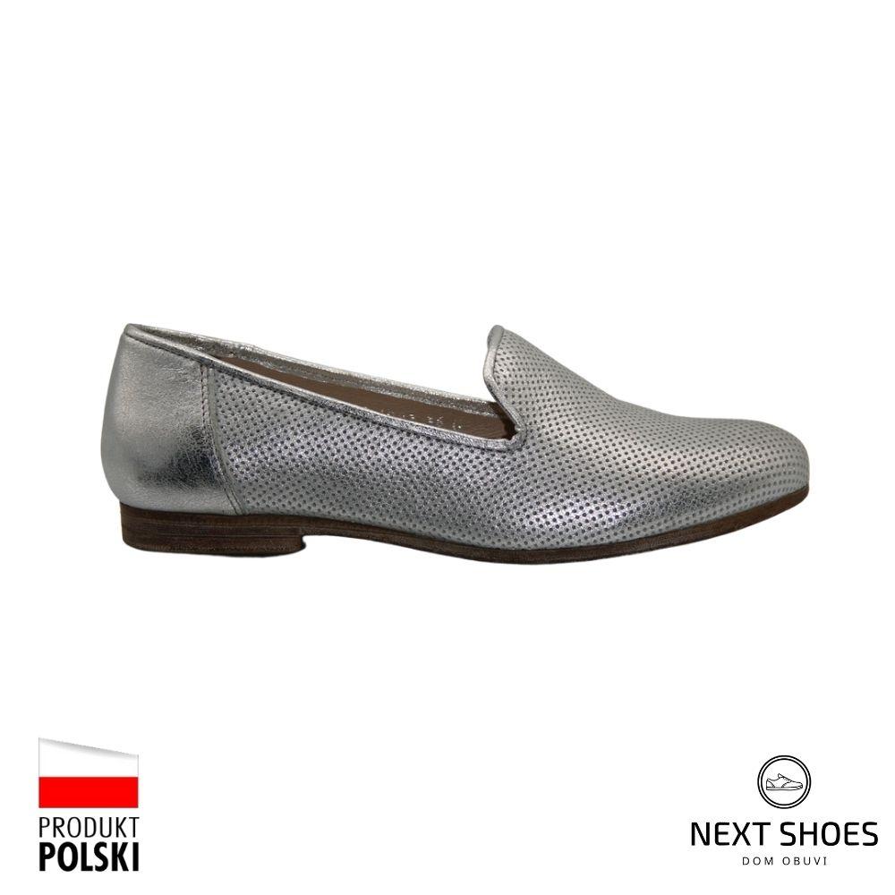 Туфли женские серебристые NEXT SHOES (Польша) летние арт 1093a-jolia-srebro модель 4382