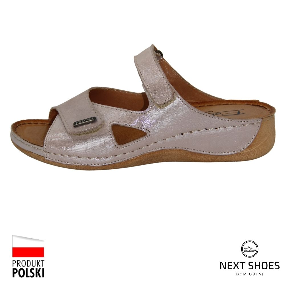 Slippers female pink NEXT SHOES (Poland) summer art 5-1063-002 model 4408