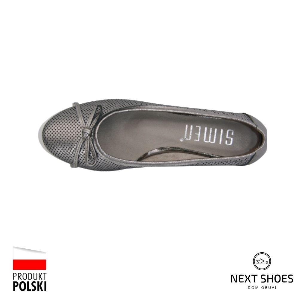Балетки женские серебристые NEXT SHOES (Польша) летние арт 1162a-srebro-szare модель 4417