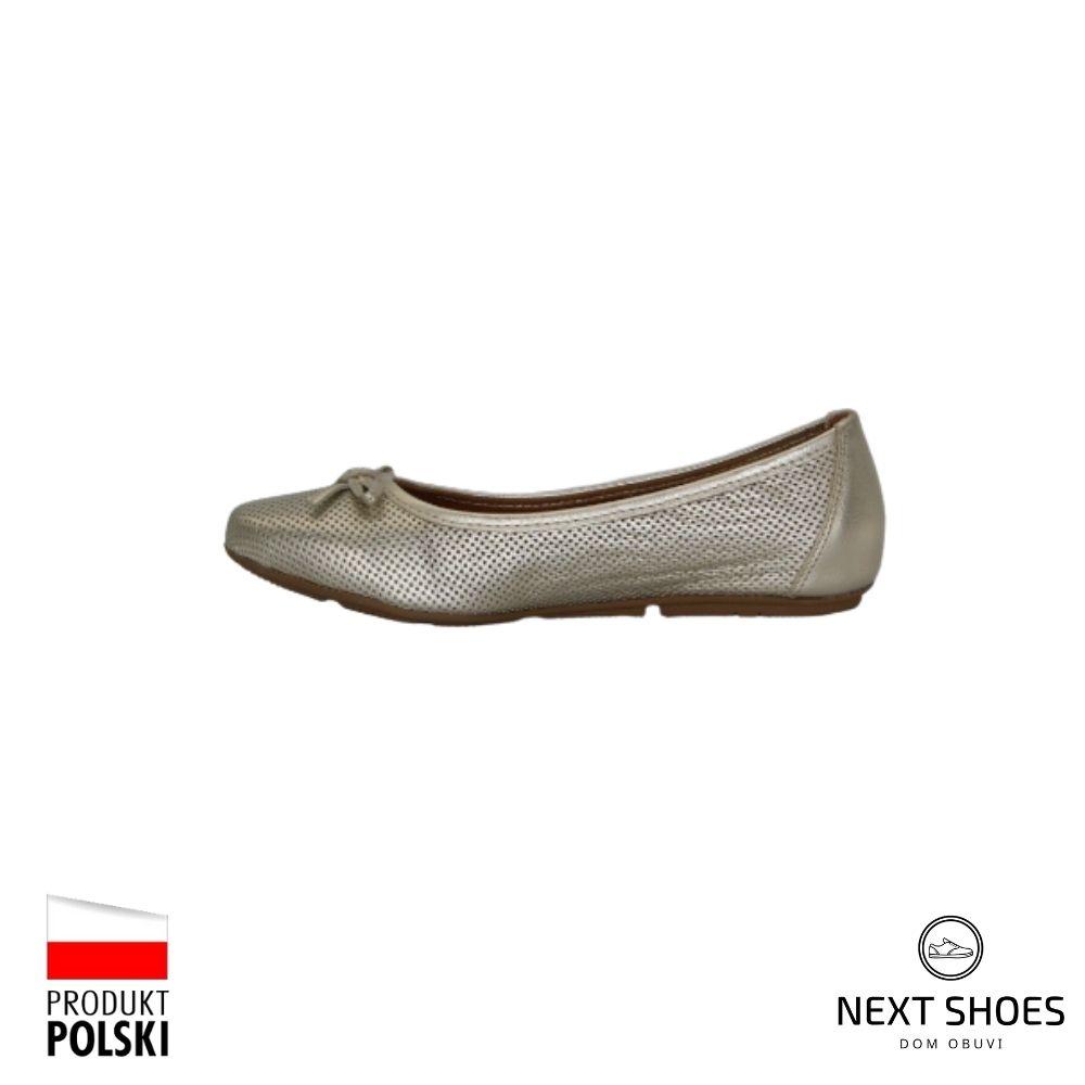 Балетки женские золотистые NEXT SHOES (Польша) летние арт 1162a-zloto модель 4418