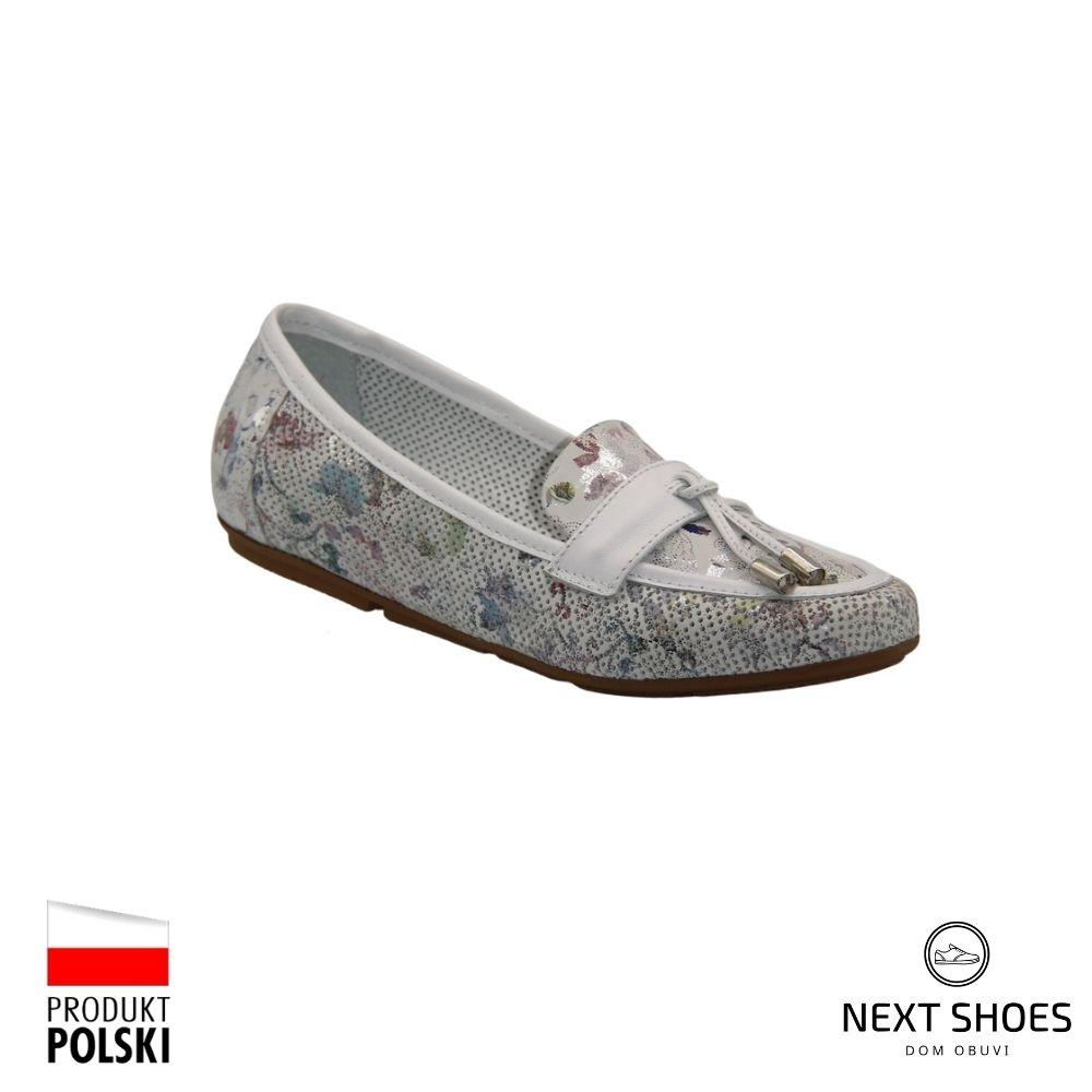 Мокасины женские белые NEXT SHOES (Польша) летние арт 1212-a-bianko модель 4419