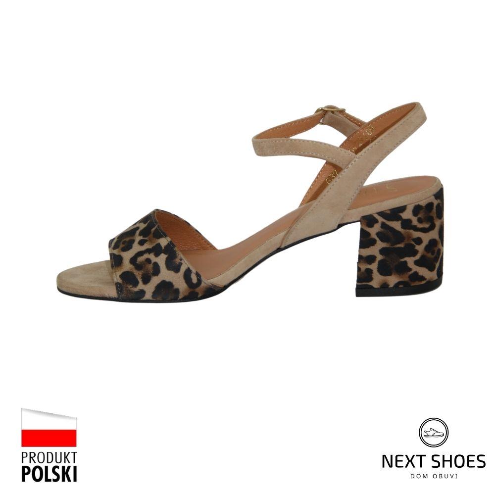 Босоножки на среднем каблуке женские леопардовые NEXT SHOES (Польша) летние арт 4340076-075 модель 4436