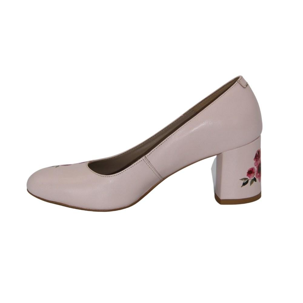 Women's beige mid-heeled shoes, demi-season NEXT SHOES (Poland) Genuine leather, art 0253-25s-kw model 4469