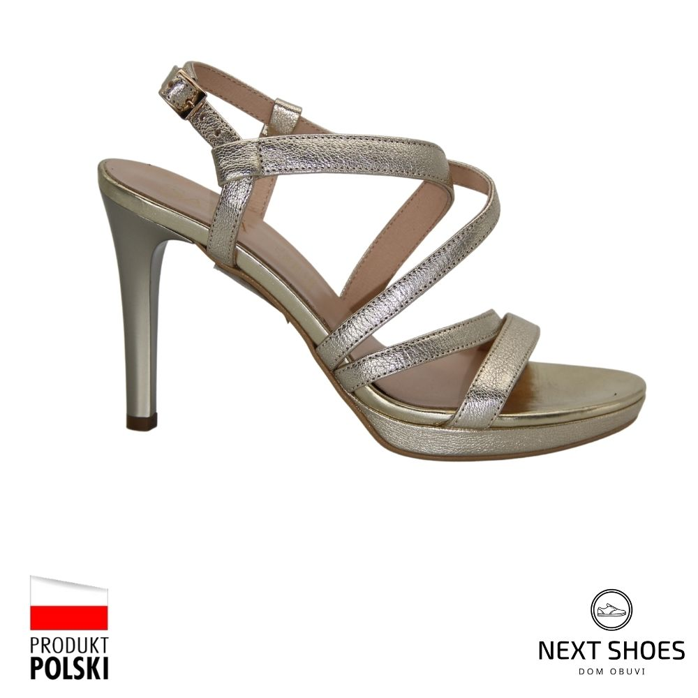 Sandals female gold NEXT SHOES (Poland) summer art 9176-1477 model 4470