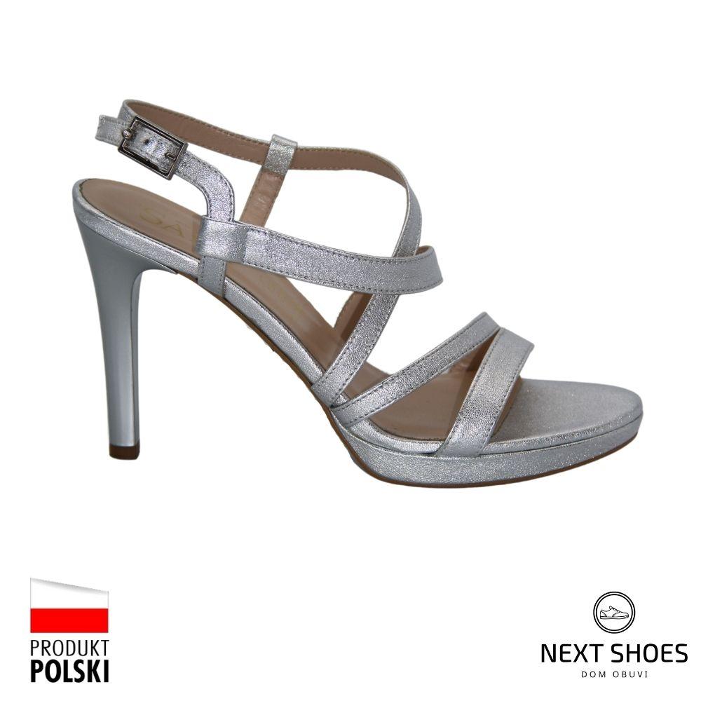 Sandals with medium heels female silver NEXT SHOES (Poland) summer art 9176-1476 model 4471