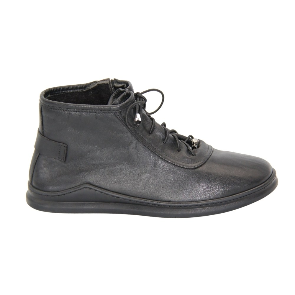 Women's black boots on a low wedge heel with lacing and a snake, demi-season NEXT SHOES (Turkey) Genuine leather, art 803-303 model 4496