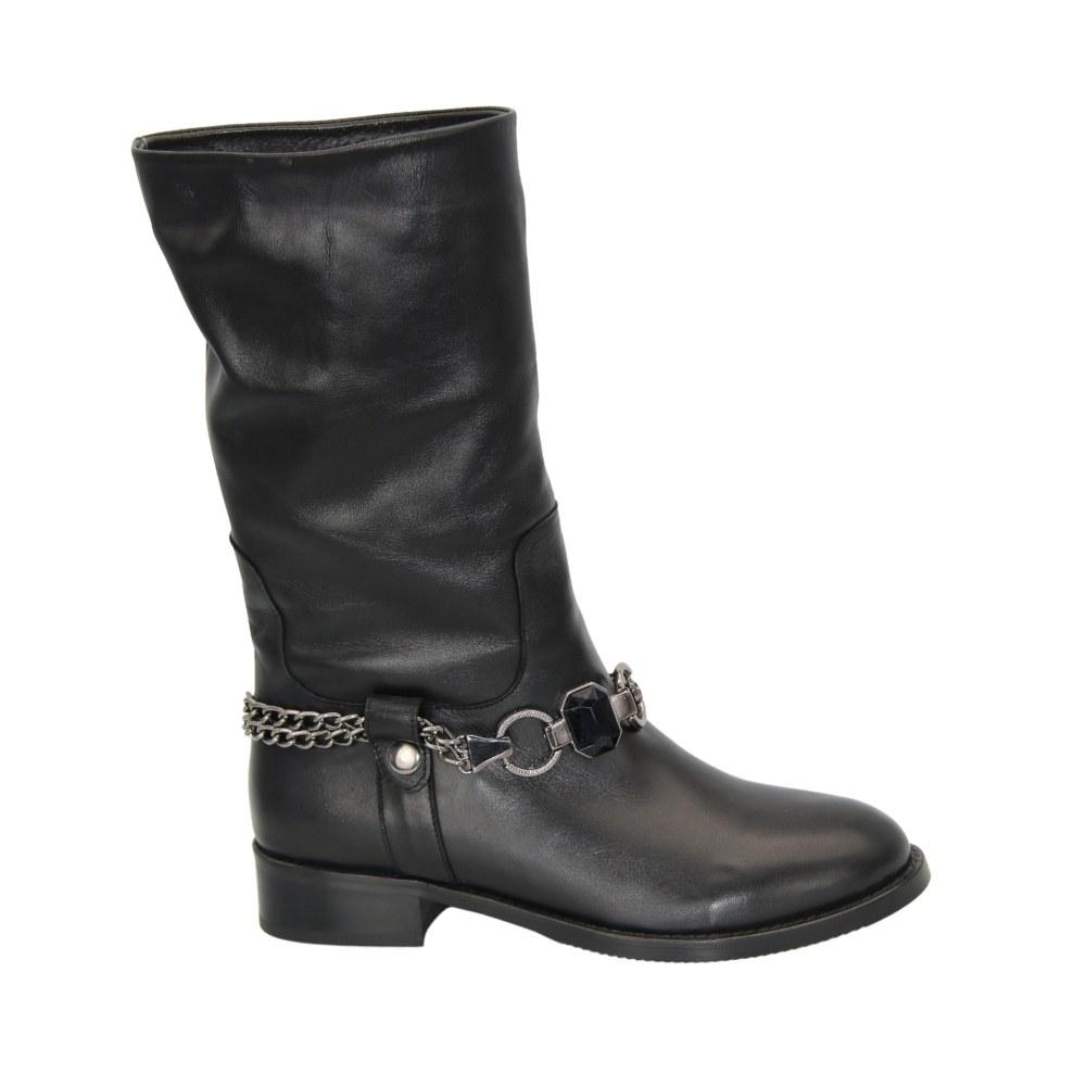 Женские черные полусапоги на платформе со змейкой демисезонные NEXT SHOES (Турция) Натуральная кожа, арт ml-153-136 модель 4497
