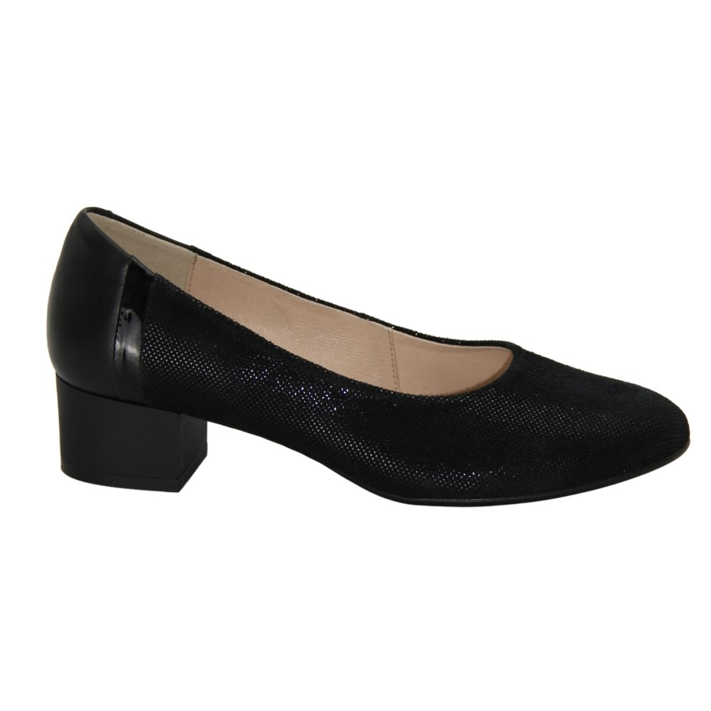 Женские черные туфли-лодочки на низком каблуке демисезонные NEXT SHOES (Польша) Натуральная кожа, арт 0887p-381-001-021-1 модель 4514