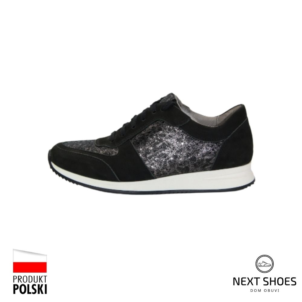 Sneakers female black NEXT SHOES (Poland) demi-season art model 4515
