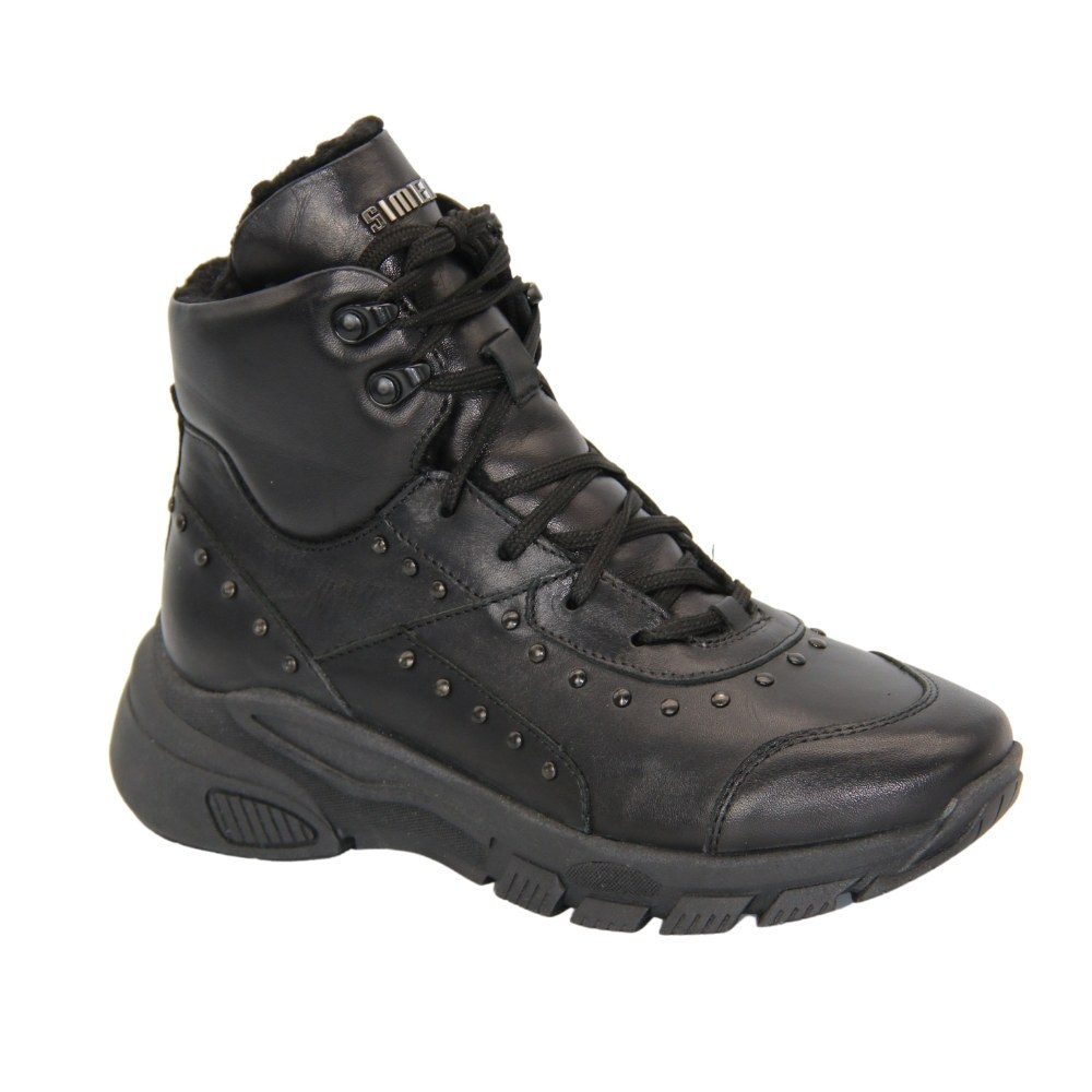 Women's black boots at low speed with lacing and a snake winter NEXT SHOES (Poland) Genuine leather, art 1980a-sandro04 model 4522