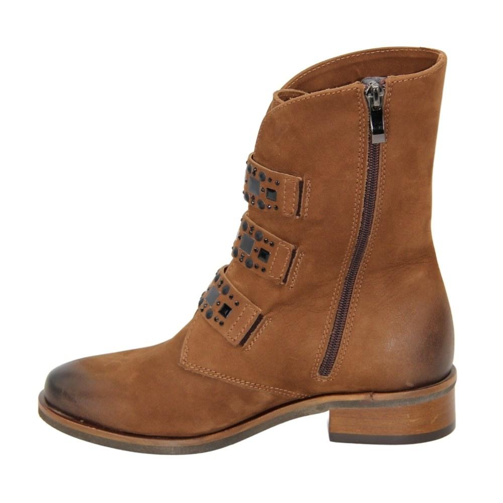 Женские коричневые ботинки на низком каблуке со змейкой демисезонные NEXT SHOES (Польша) Натуральный нубук, арт 1908-011-chestnut модель 4523