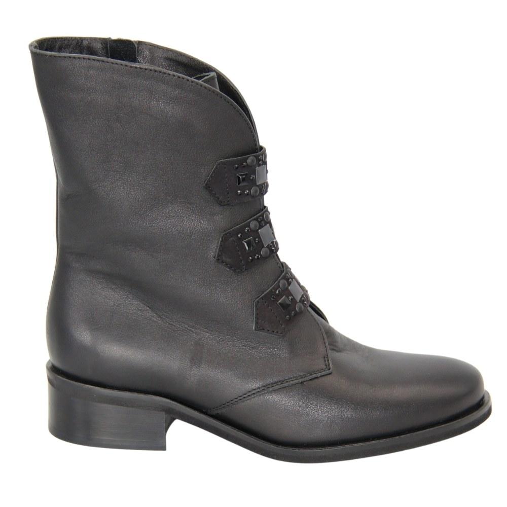 Женские черные ботинки на низком каблуке со змейкой демисезонные NEXT SHOES (Польша) Натуральная кожа, арт 1908-206-011-bleck модель 4524