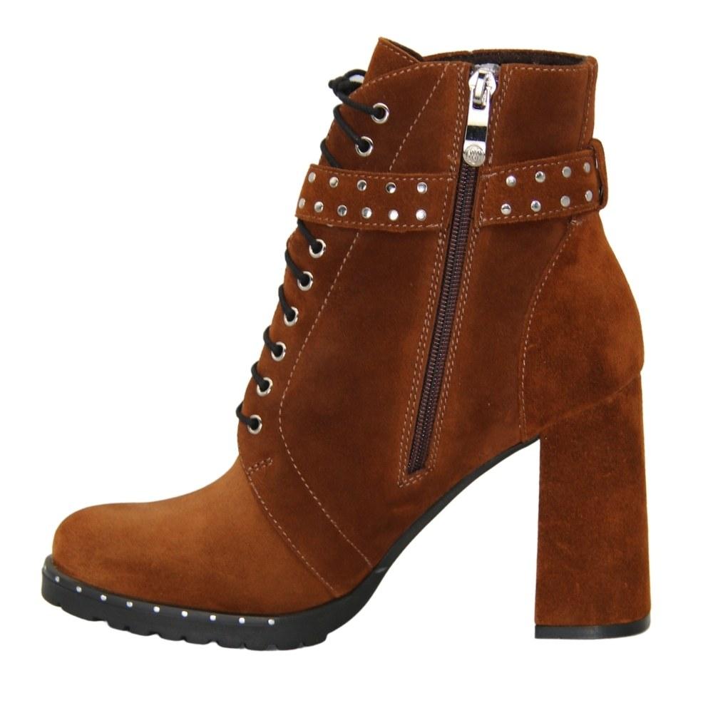 Женские коричневые ботинки на среднем каблуке со змейкой и шнуровкой демисезонные NEXT SHOES (Польша) Натуральный нубук, арт k23-000-02-00-26536-35 модель 4529