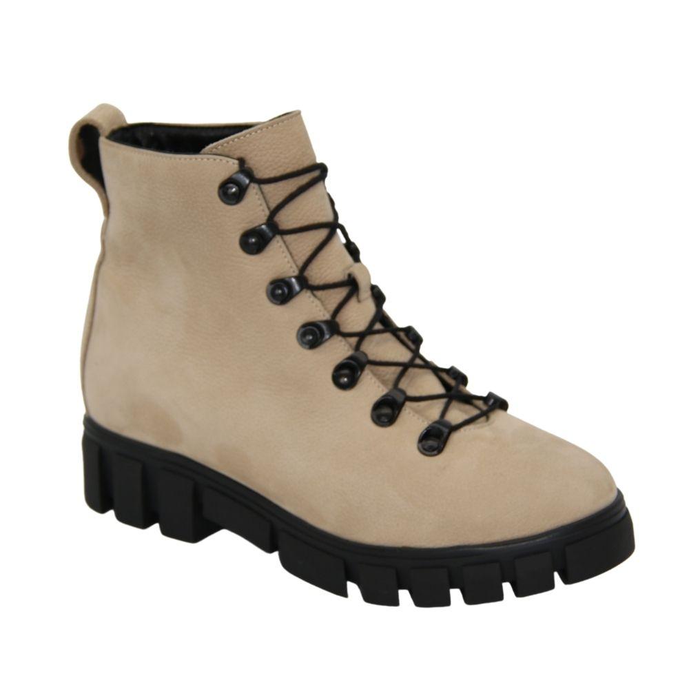 Женские бежевые ботинки на низком ходу со шнуровкой демисезонные NEXT SHOES (Польша) Натуральный нубук, арт 56102-01-k46-000-02-00-czarny модель 4536