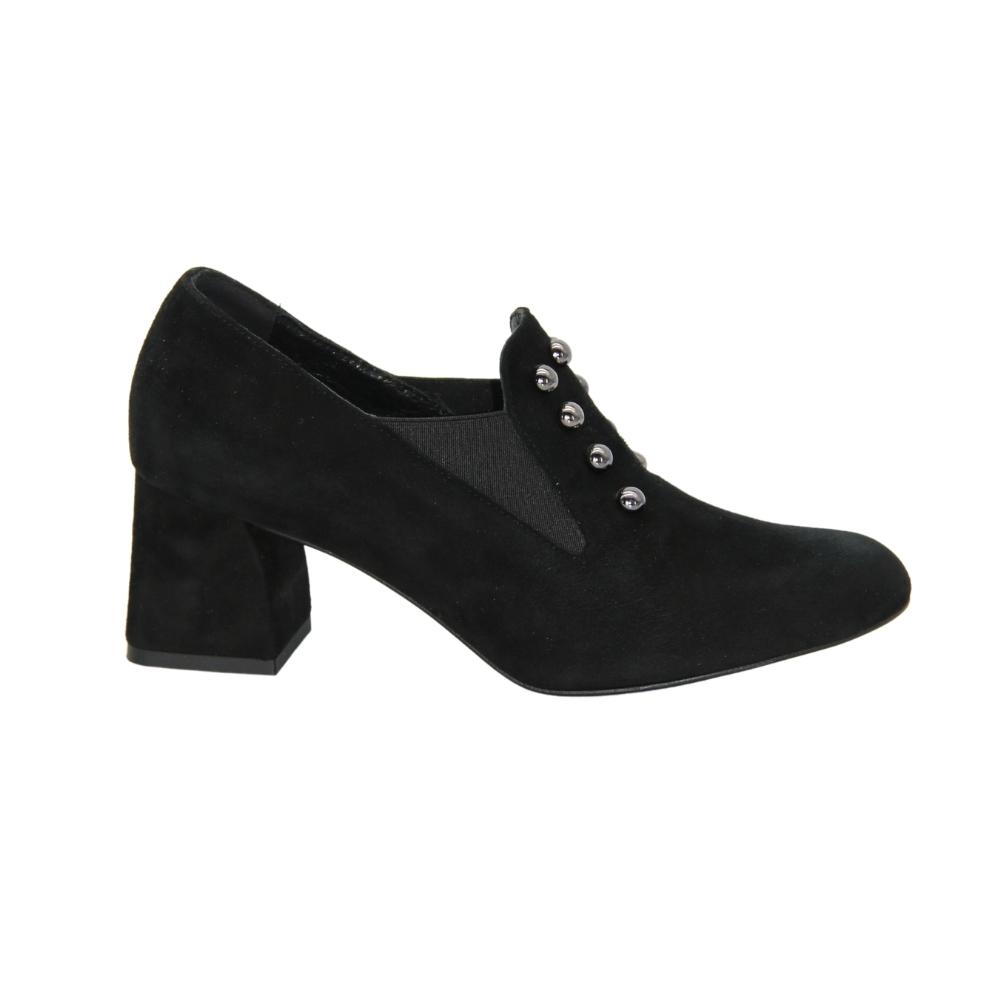 Туфли-чанки на среднем каблуке женские черные NEXT SHOES (Польша) демисезонные арт lm-1889-081 модель 4541