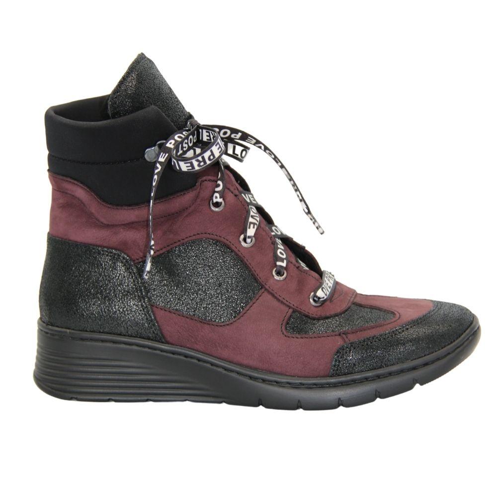 Женские черные с бордовыми вставками ботинки на платформе со шнуровкой демисезонные NEXT SHOES (Польша) Натуральная кожа, арт z-231 модель 4547