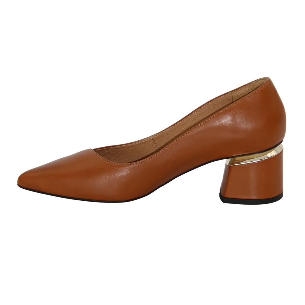 Женские коричневые туфли-лодочки на среднем каблуке демисезонные NEXT SHOES (Польша) Натуральная кожа, арт 1450p-685-p-1 модель 4549