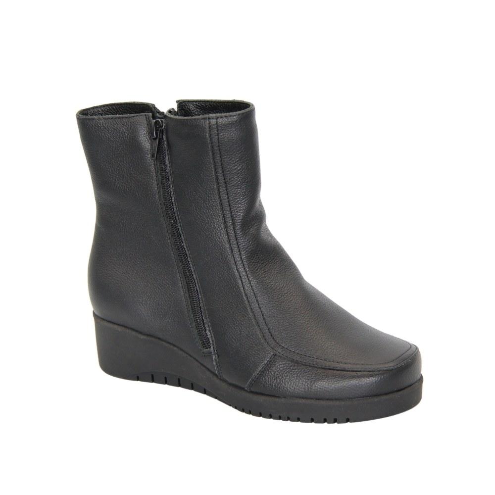 Женские черные ботинки на платформе со змейкой зимние NEXT SHOES (Польша) Натуральная кожа, арт 0404-czarny модель 4553