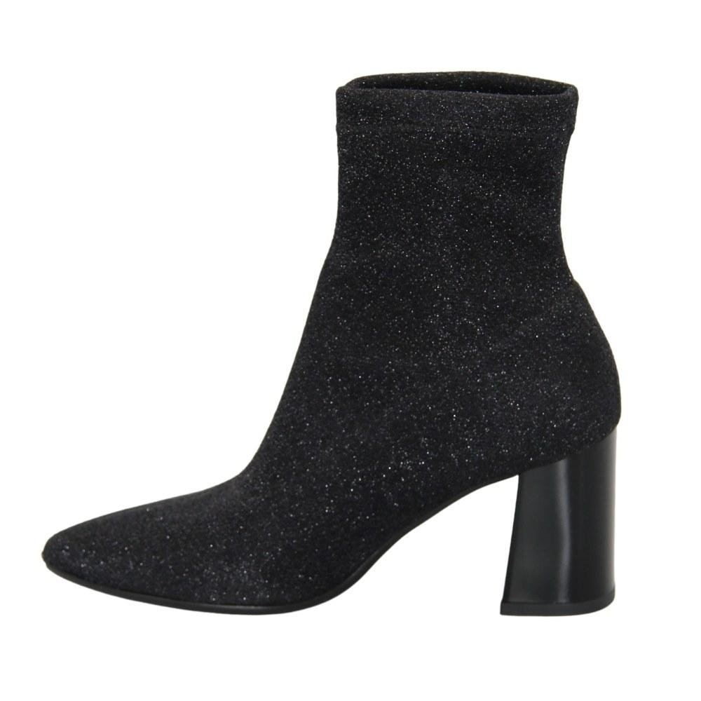 Женские черные ботинки чулки на среднем каблуке демисезонные NEXT SHOES (Польша) Комбинированный материал, арт 673250-met-nero модель 4571