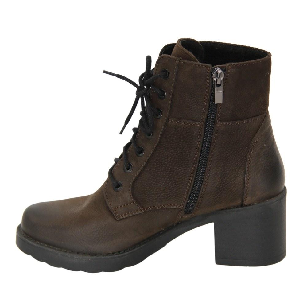 Женские коричневые ботинки на среднем каблуке со змейкой и шнуровкой демисезонные NEXT SHOES (Польша) Натуральная кожа, арт 6591-6-2139 модель 4591