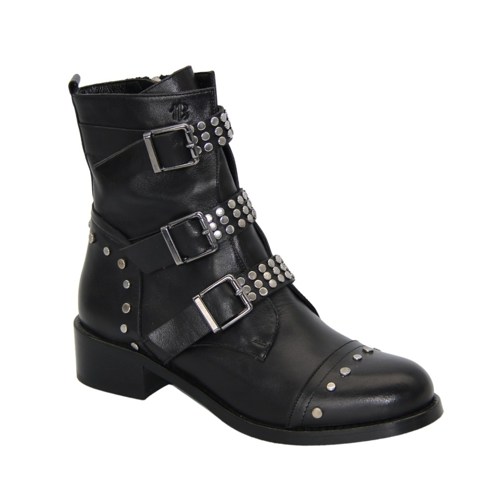 Women's black boots at low speed with lacing and a snake demi-season NEXT SHOES (Poland) Genuine leather, art b7179-69-czarny model 4593