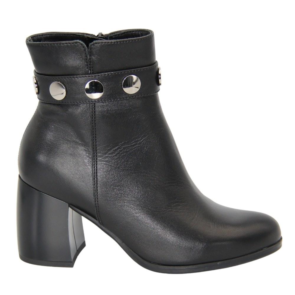 Женские черные ботинки на среднем каблуке со змейкой демисезонные NEXT SHOES (Польша) Натуральная кожа, арт 288-712-303-1-00-0101 модель 4600