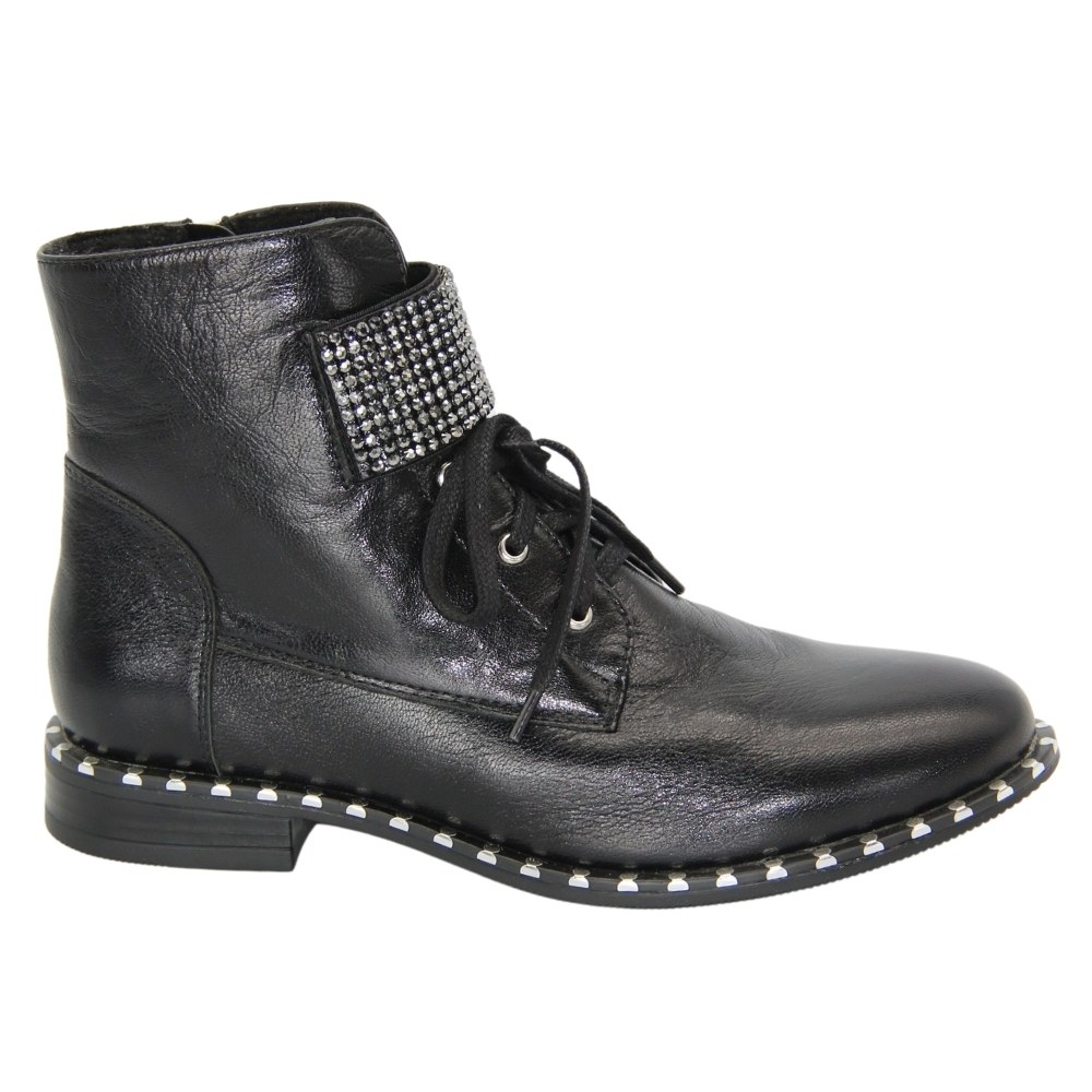 Women's black boots at low speed with a snake and lacing demi-season NEXT SHOES (Poland) Genuine leather, art 19614-czarny model 4605