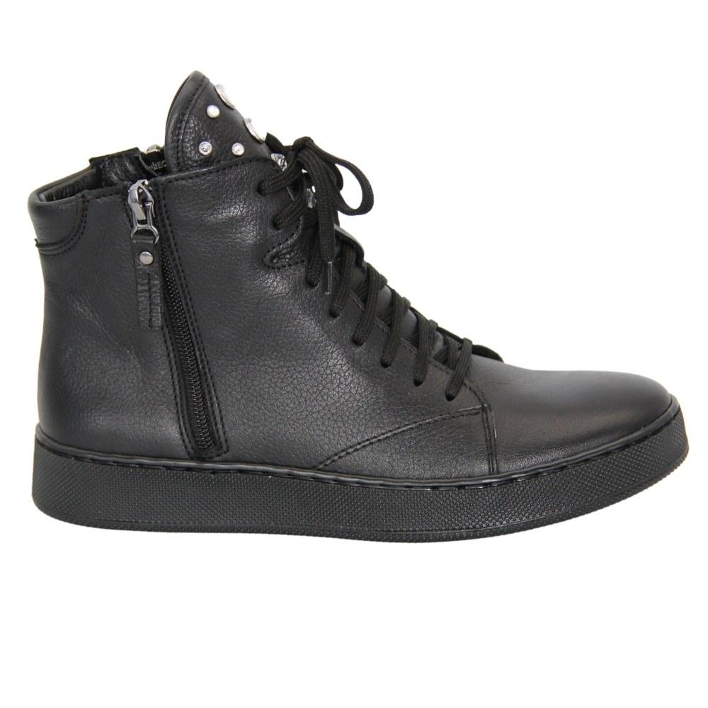 Женские черные ботинки на низком ходу со шнуровкой и змейкой демисезонные NEXT SHOES (Польша) Натуральная кожа, арт 0560a-faeda-czarny модель 4606