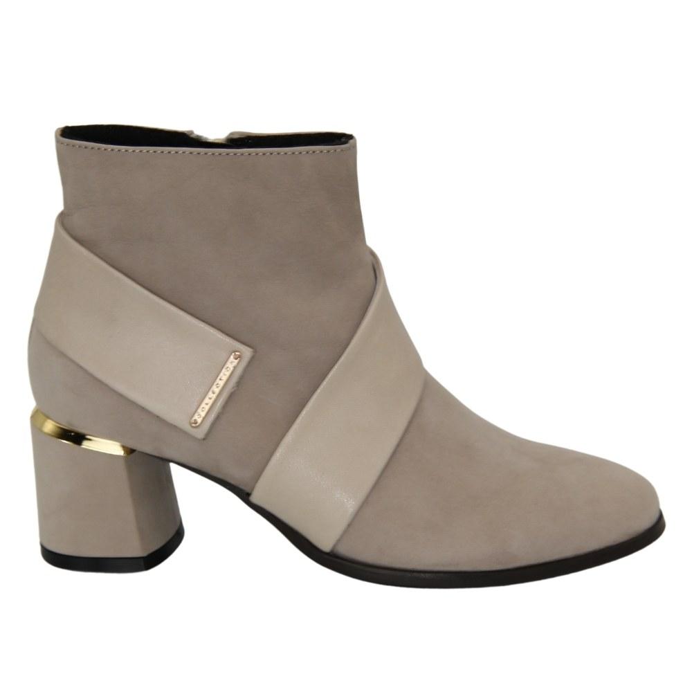 Женские бежевые ботинки на среднем каблуке со змейкой демисезонные NEXT SHOES (Польша) Натуральная кожа, арт 19656-bez модель 4621