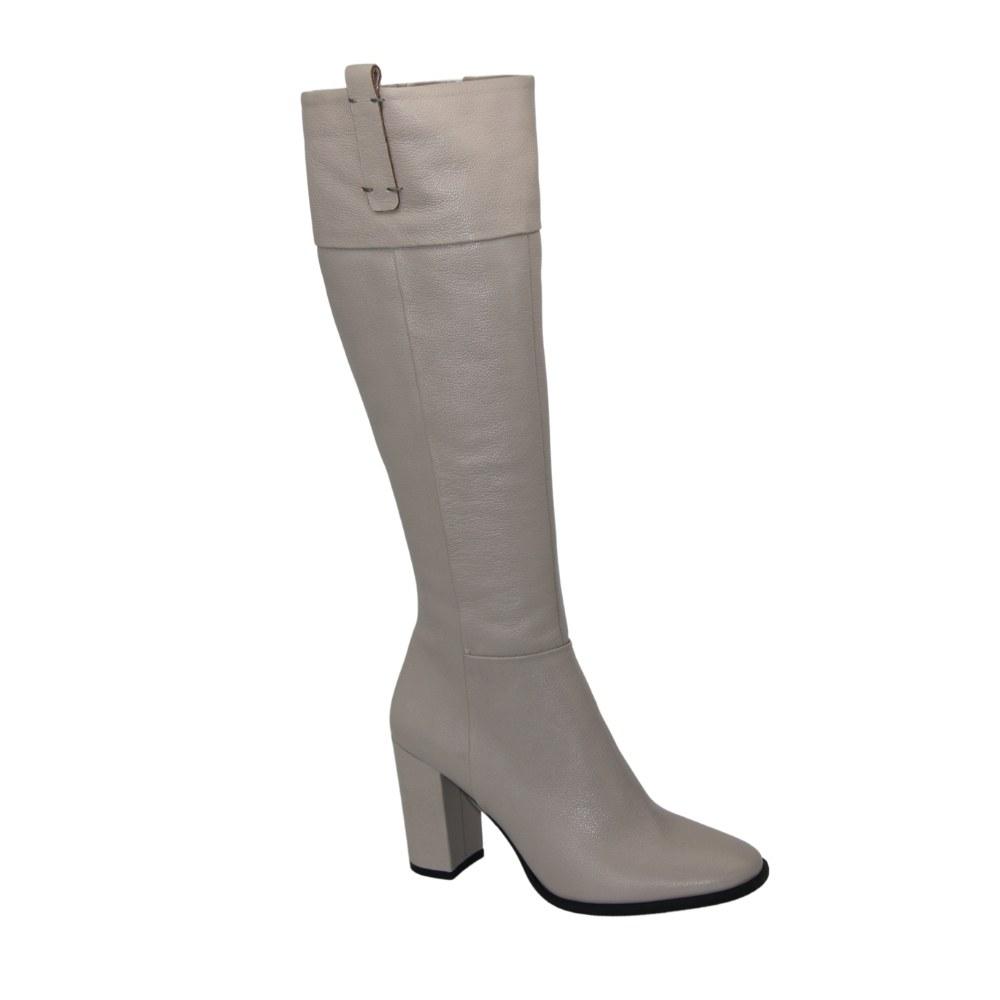 Women's beige boots demi-season NEXT SHOES (Poland) Genuine leather, art k-0265-0268 model 4626