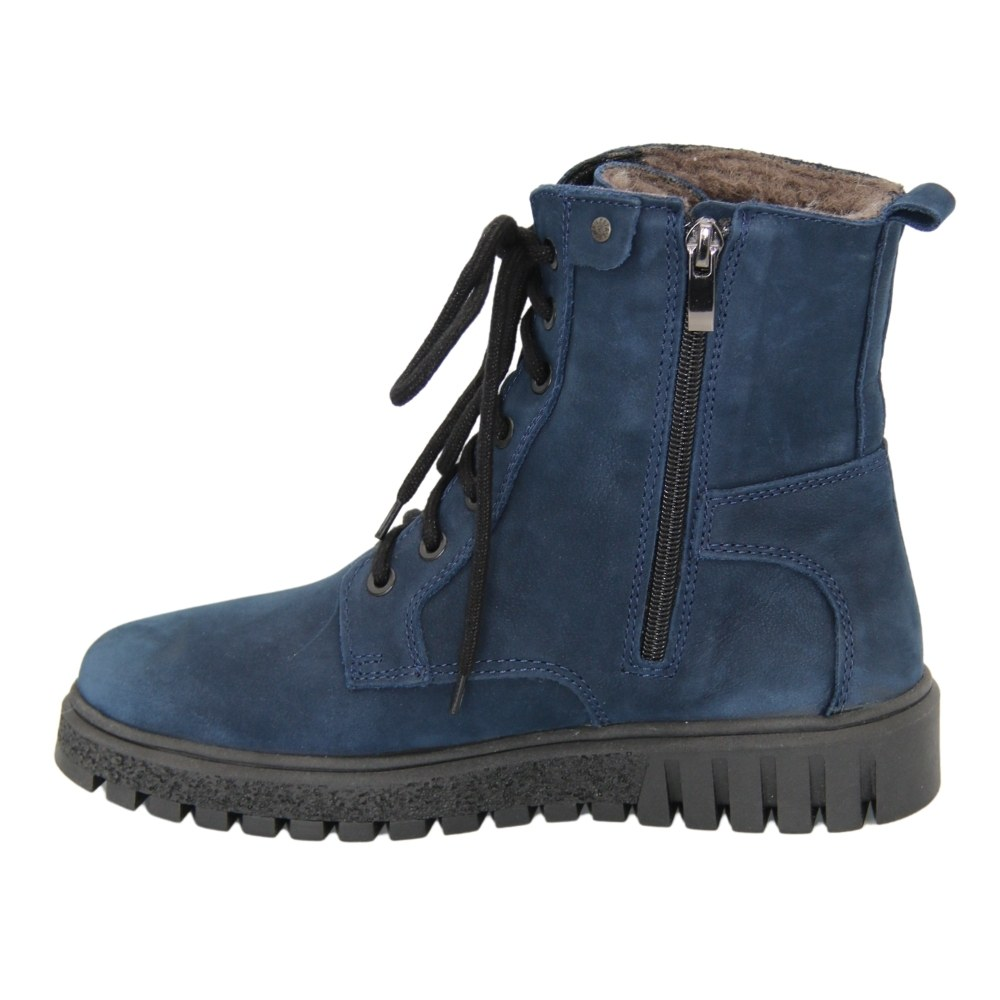 Женские синие ботинки на низком ходу со шнуровкой и змейкой зимние NEXT SHOES (Польша) Натуральный нубук, арт 251-6588-73240 модель 4627
