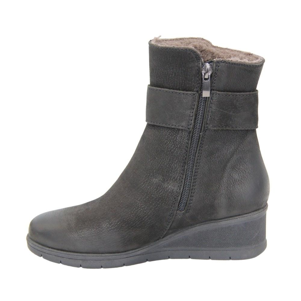 Женские черные ботинки на платформе со змейкой зимние NEXT SHOES (Польша) Натуральный нубук, арт 6584-7-1039 модель 4630
