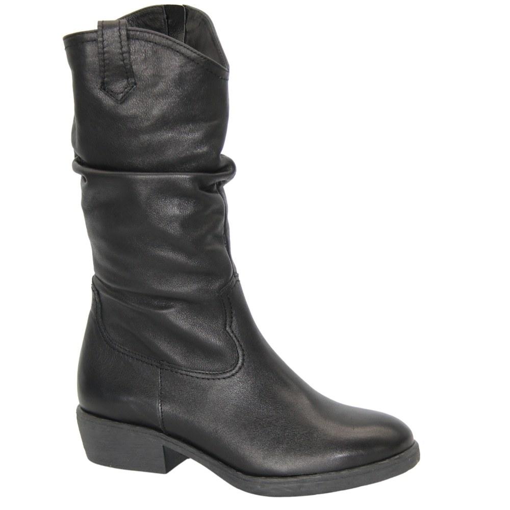 Женские черные сапоги казаки на низком каблуке со змейкой демисезонные NEXT SHOES (Польша) Натуральная кожа, арт 1994-czar-206 модель 4632